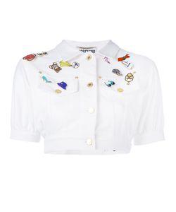 Moschino Vintage | Cropped Denim Enamel Badge Jacket