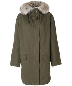 Army Yves Salomon | Hooded Parka Women Cotton/Rabbit Fur/Polyester/Coyote