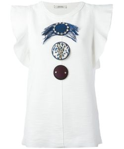 Dorothee Schumacher | Ruffled Sleeves Embellished T-Shirt Size 2