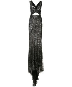 Roberto Cavalli   Crossed Back Embroidered Gown Size