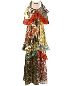 Roberto Cavalli | Ruffle Tier Printed Maxi Dress Size 40