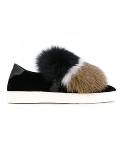 Santoni | Striped Fur Slippers
