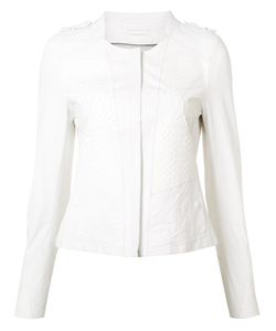 Sylvie Schimmel | Paneled Collarless Biker Jacket 36 Lamb