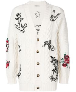 Valentino | Tattoo Embroidered Cable Knit Cardigan Polyamide/Mohair/Virgin