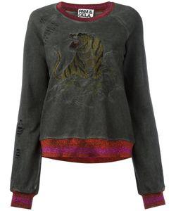 Pam & Gela   Embroidered Tiger Sweatshirt Cotton/