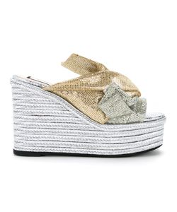 No21 | Wedge Bow Sandals Women Cotton/Calf