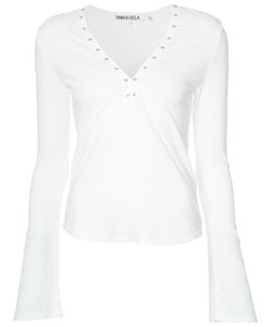 Pam & Gela   Eyelet Neckline T-Shirt Size Medium