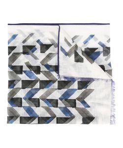 Canali   Geometric Pattern Scarf Cotton/Linen/Flax