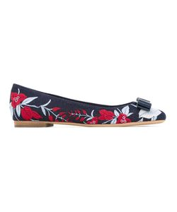 Salvatore Ferragamo | Embroidered Denim Ballerinas Size 9.5
