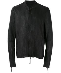 Cedric Jacquemyn | Textured Bomber Leather Jacket Lamb
