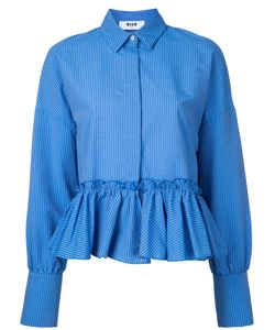 MSGM | Striped Frill Hem Shirt