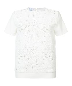 Oscar de la Renta | Short Sleeve Birdsnest Front Embroidered Top