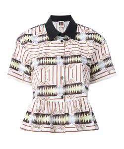 I'M Isola Marras | -Print Ruffled Shirt 40 Cotton/Spandex/Elastane