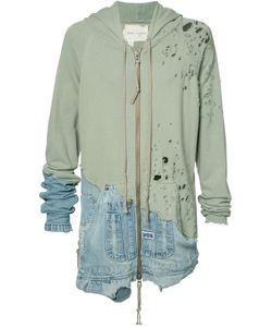 Greg Lauren | Denim Merged Zip Hoodie Size