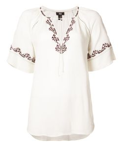 Paige | Embroidered Shortsleeved Blouse Xs