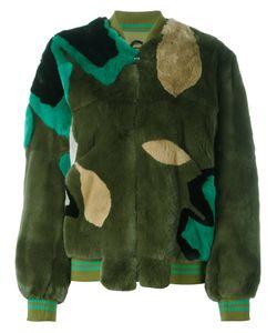 Army Yves Salomon | Panelled Coat Size 38 Silk/Rabbit Fur/Cotton/Lamb