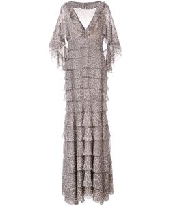 J. Mendel | Leopard Print Tiered Cape Gown Women