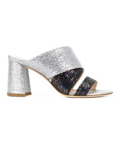 Polly Plume   Glitter Open Toe Mules Size 39 Leather/Polyester/Calf