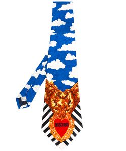 Moschino Vintage | Cloud Heart Striped Tie