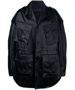 Juun.J | Oversized Military Coat With Text Detail