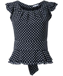 Guild Prime | Polka Dot Frilled Cap Sleeve Blouse