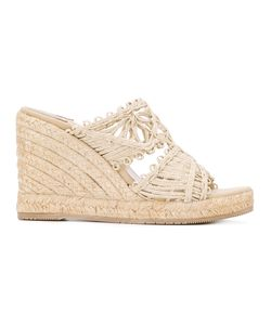 Paloma Barceló | Open Toe Wedge Sandals Size 36 Raffia/Leather/Foam