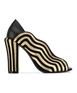 Fendi | Striped Wave Mules 36