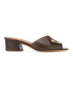 Michel Vivien   Open Toe Mules Size 38.5 Calf Leather/Leather/Metal