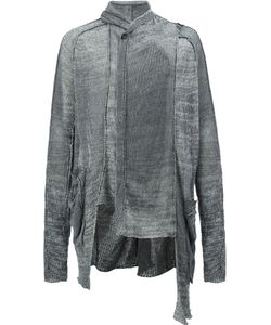 Masnada | Draped Neck Asymmetric Cardigan Medium Linen/Flax/Viscose