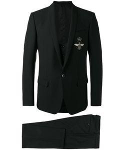 Dolce & Gabbana | Crowned Bee Suit Size 48 Acetate/Cupro/Viscose/Virgin