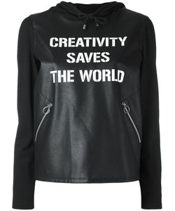 Twin-Set   Faux Leather Creativity Saves The World Hoodie