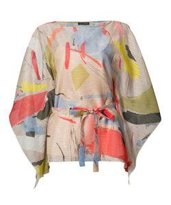 Josie Natori | Printed Belted Blouse Large Polyester