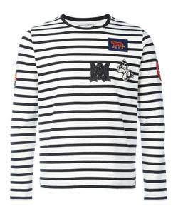 Alexander McQueen | Badge Appliqué Striped Top Large Cotton