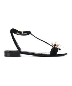 Lanvin | Crystal Embellished T-Bar Sandals Women