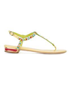 Rene Caovilla | René Caovilla Beaded T-Bar Flat Sandals