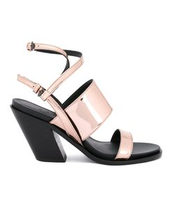 A.F.Vandevorst   Diagonal Heel Strappy Sandals Size 39 Calf Leather/Leather/Patent