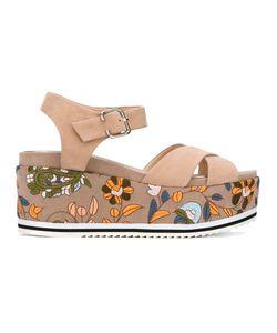 Steffen Schraut | Embroidery Platform Sandals 38 Cotton/Leather/Suede/Foam