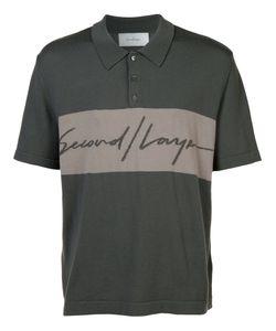 Second/Layer | Logo Print Polo Shirt Large Merino