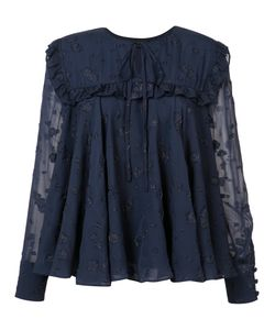 Co | Ruffle Trim Jacquard Blouse