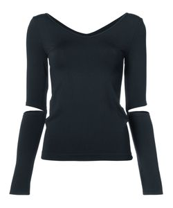Helmut Lang | V-Neck Cut Out Sleeve Top