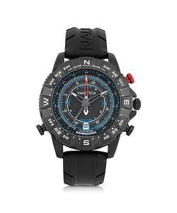 Nautica   Nsr 103 Tide Compass Stainless Steel Case And Rubber Strap