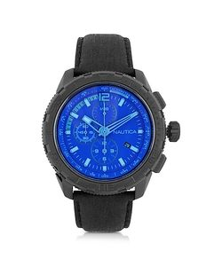 Nautica   Nst 101 Stainless Steel Case And Leather Strap Chronograph