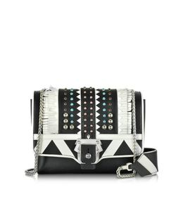 Paula Cademartori | Alicebag White Leather Shoulder Bag W/Studs