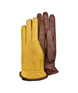 Pineider | Two-Tone Gloves W Cashmere Lining