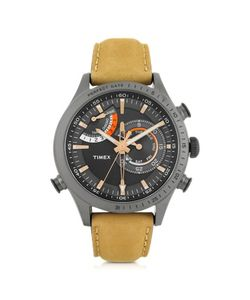 Timex | Chrono Timer Stainless Steel Case And Tan Leather Strap Mens Watch