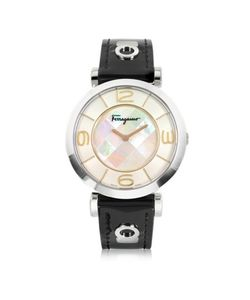 Salvatore Ferragamo | Gancino Deco Collection Silver Tone Stainless Steel Case And Leather Strap Womens Watch
