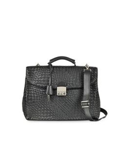 Forzieri   Woven Leather Business Bag W/Shoulder Strap