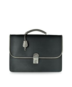 Pineider   City Chic Gray And Fabric Leather Briefcase