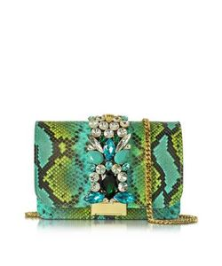 Gedebe | Clicky And Green Python Leather Clutch