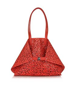 Akris | Ai Medium Scarlet/Zinnia Laser Cut Leather Tote Bag W/Inner Canvas Tote